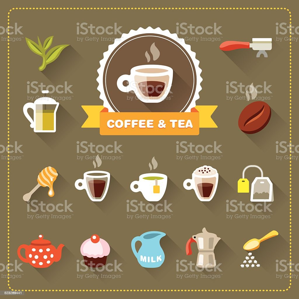 Coffee Shop - Coffee and Tea icon set vector art illustration