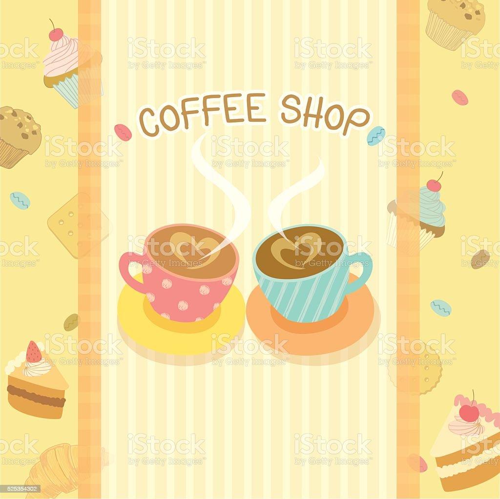 coffee shop design beige vector art illustration