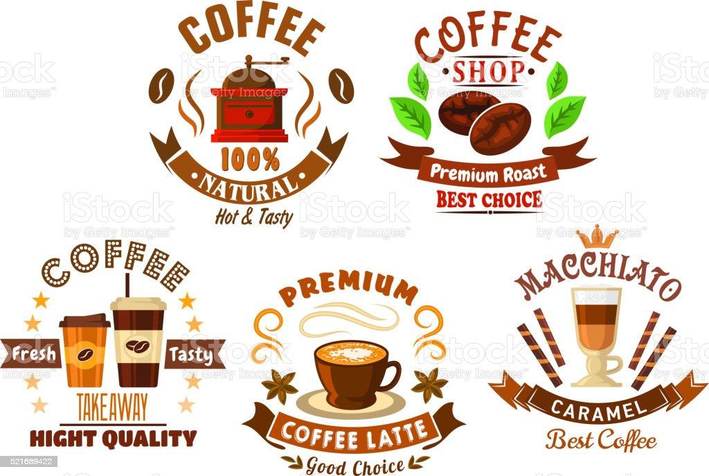 Coffee shop design elements in cartoon style vector art illustration