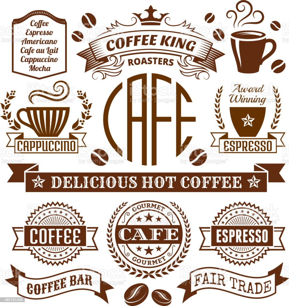 Coffee shop Elegant royalty-free vector arts , Banners & Labels Collection vector art illustration