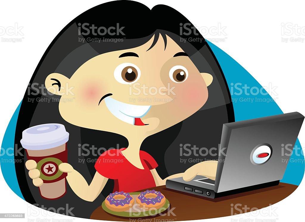 Coffee shop girl vector art illustration