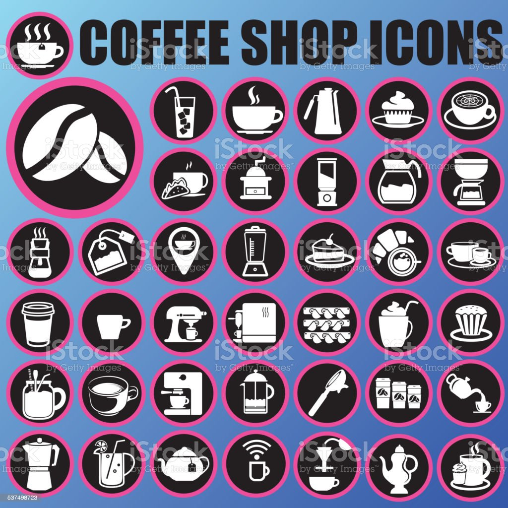 coffee shop icons in circle vector art illustration