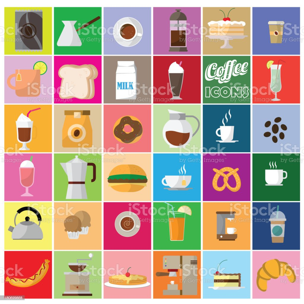 coffee shop icons vector art illustration