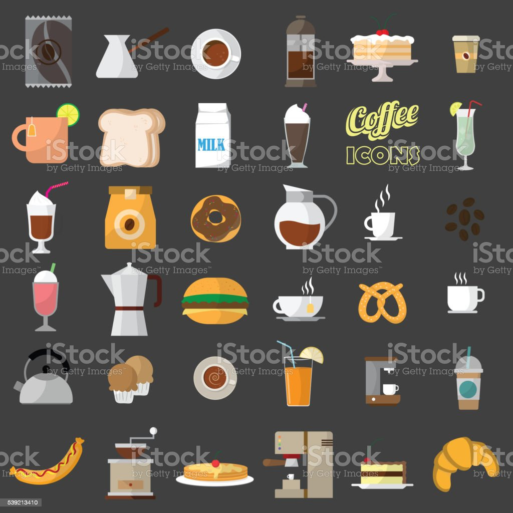 coffee shop icons. vector art illustration