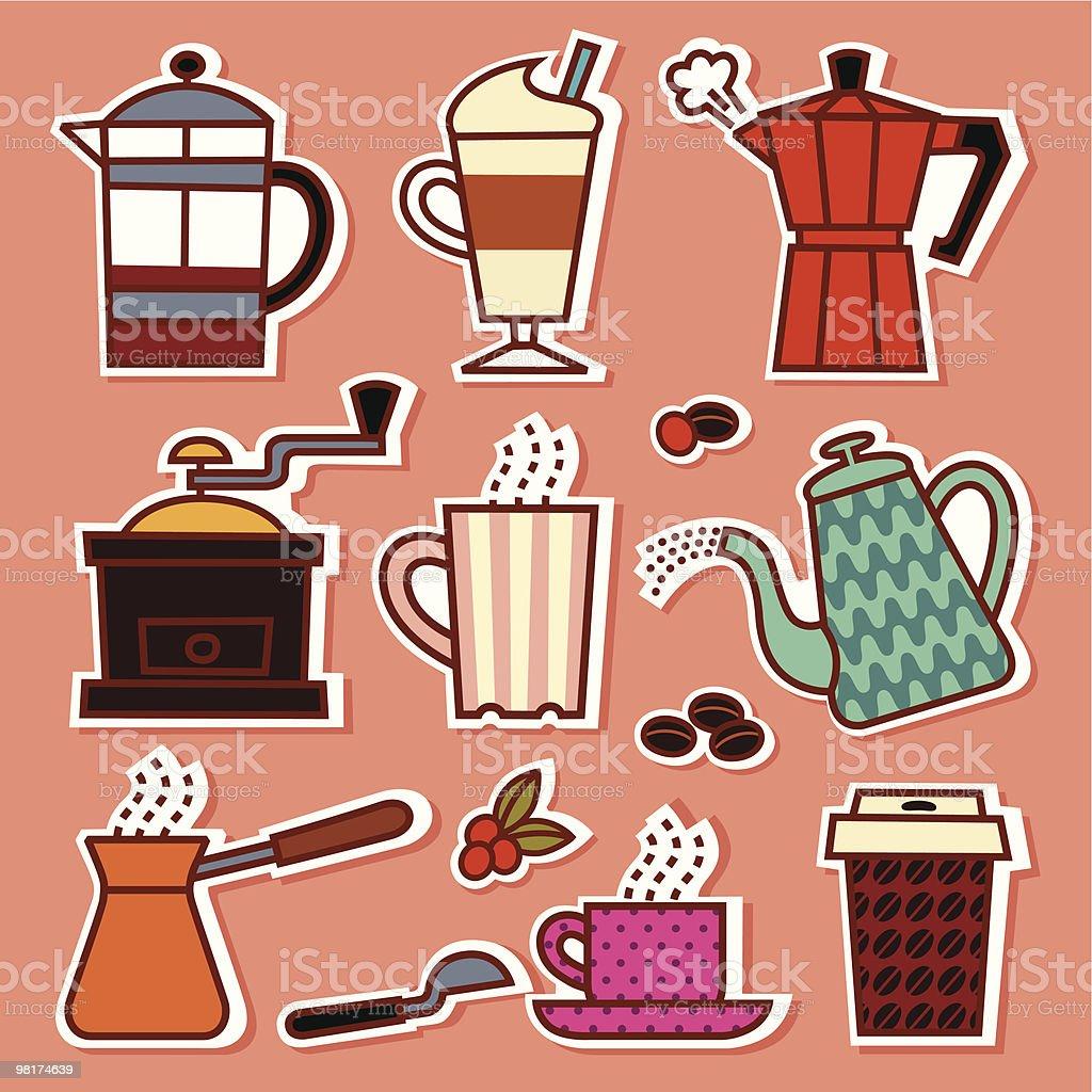 Coffee Shop Icons vector art illustration