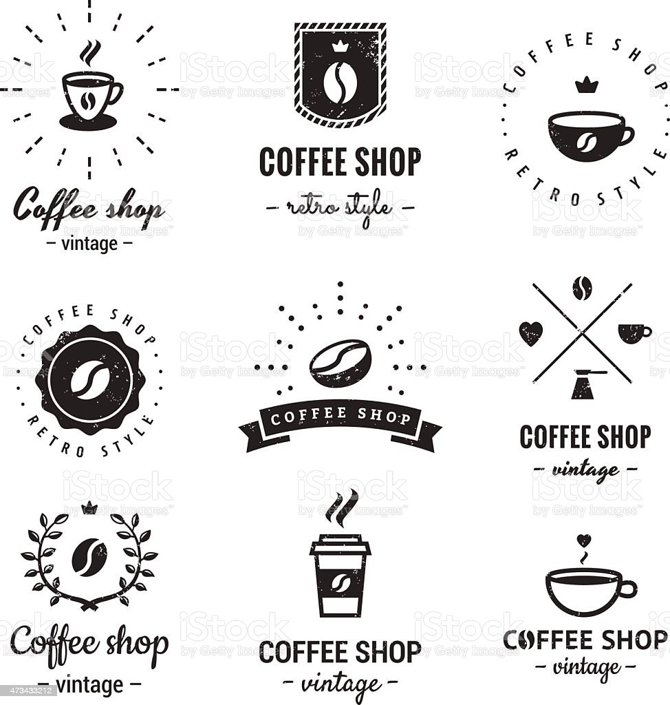Coffee shop logo vintage vector set. Hipster and retro style. vector art illustration