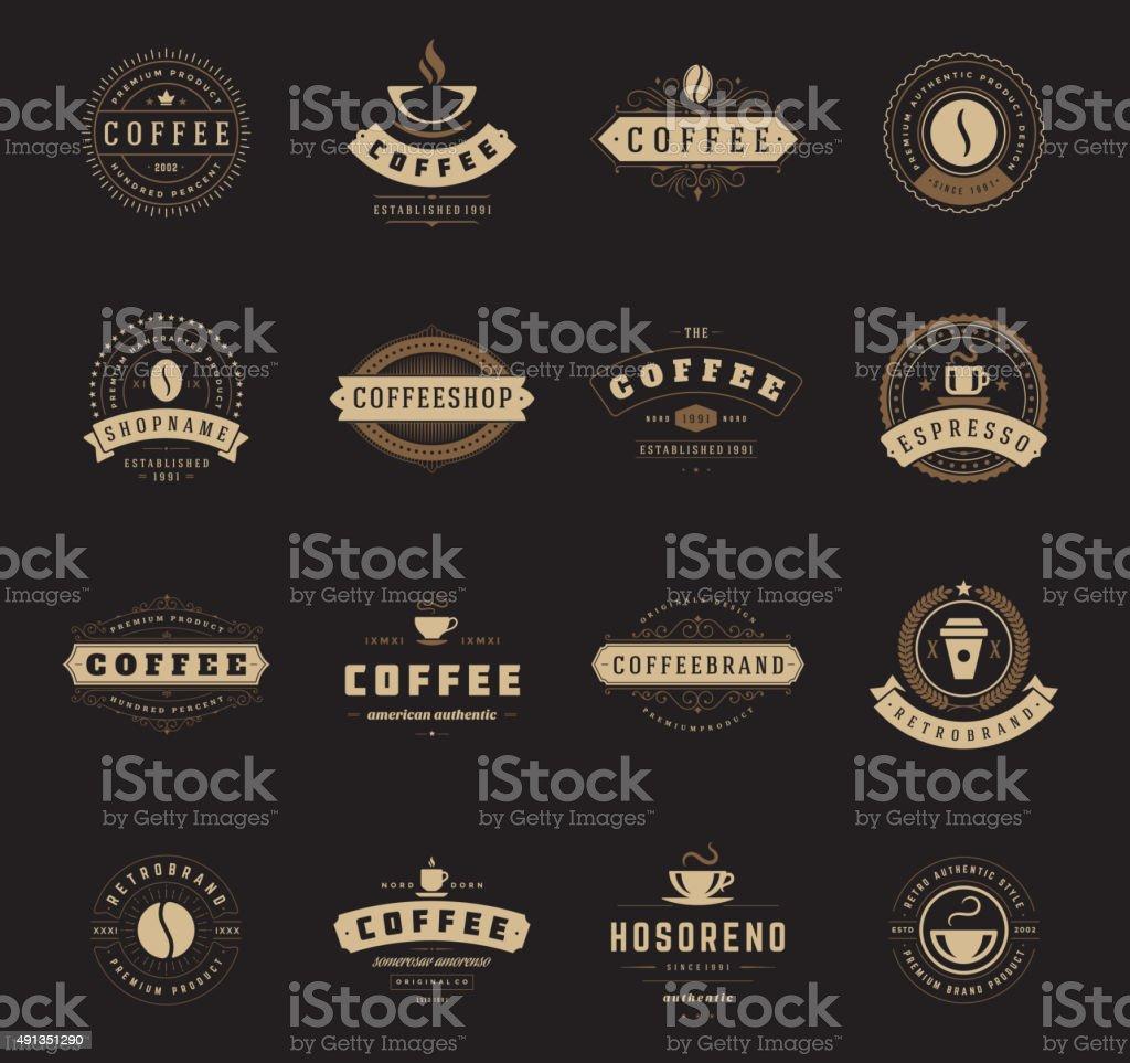 Coffee Shop Logos, Badges and Labels Design Elements set vector art illustration