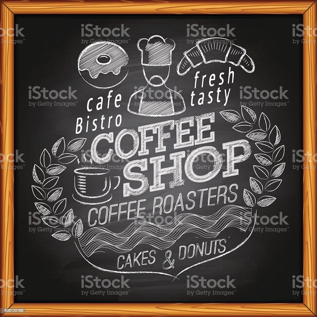 Coffee shop on chalkboard vector art illustration