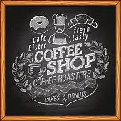 Coffee shop on chalkboard