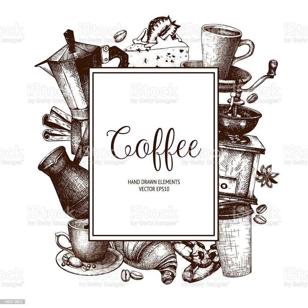 Coffee shop or cafe template vector art illustration