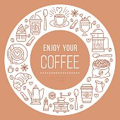 Coffee shop poster template. Vector line illustration of coffeemaking equipment