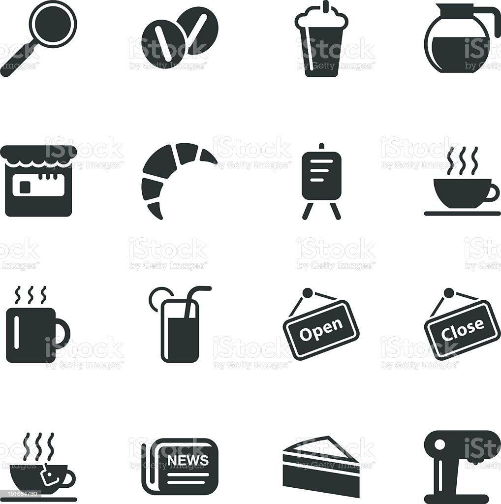Coffee Shop Silhouette Icons vector art illustration