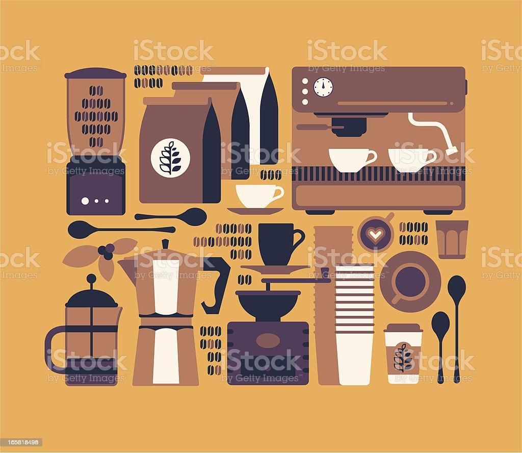 Coffee shop symbols vector art illustration