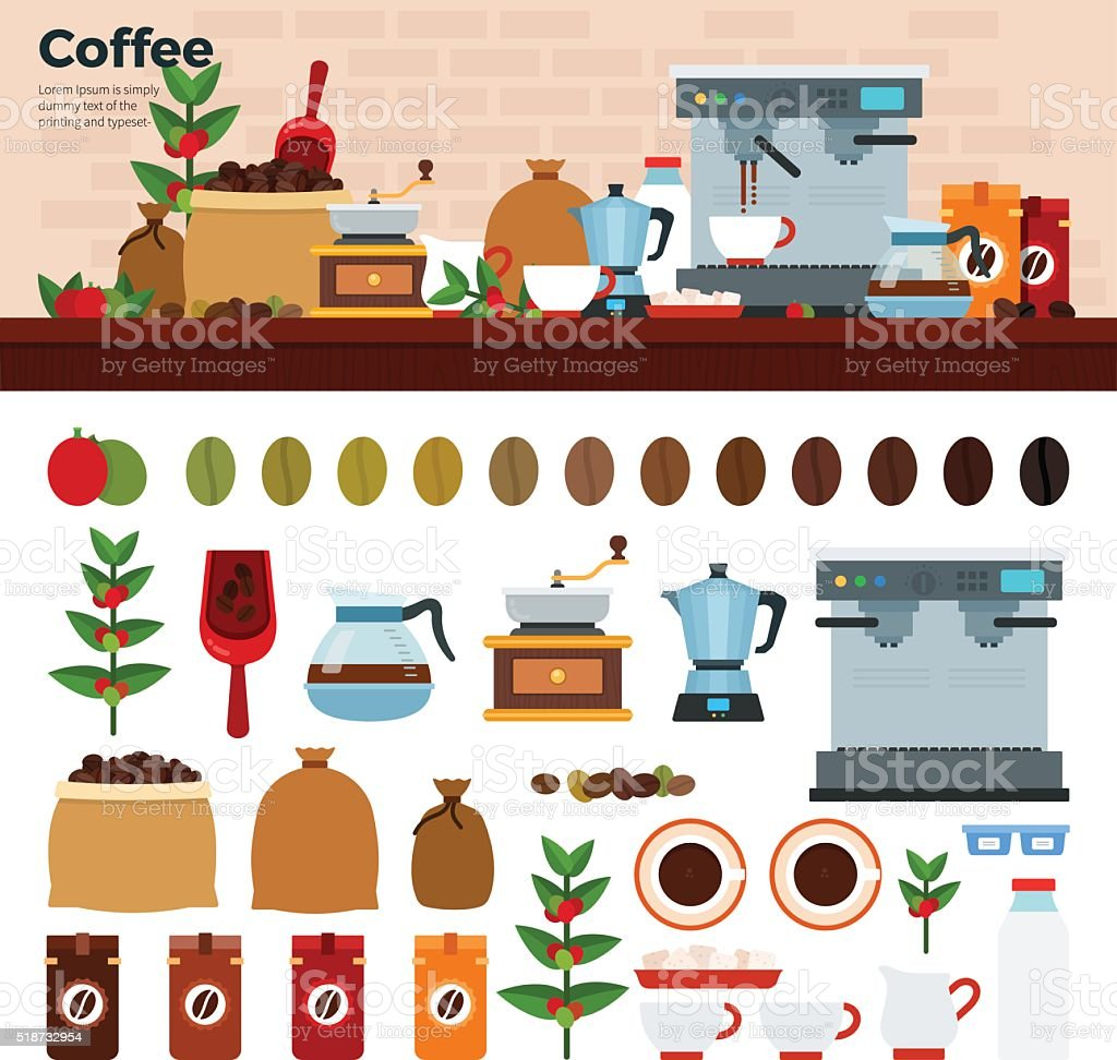Coffee shop with different kinds of coffee on the table vector art illustration