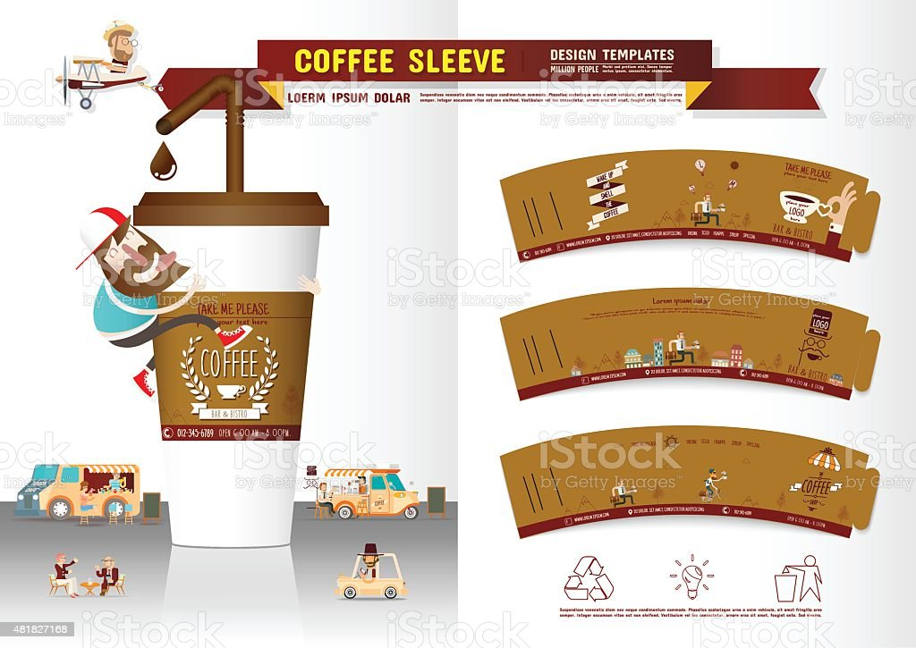 Coffee Sleeve Design Templates vector art illustration