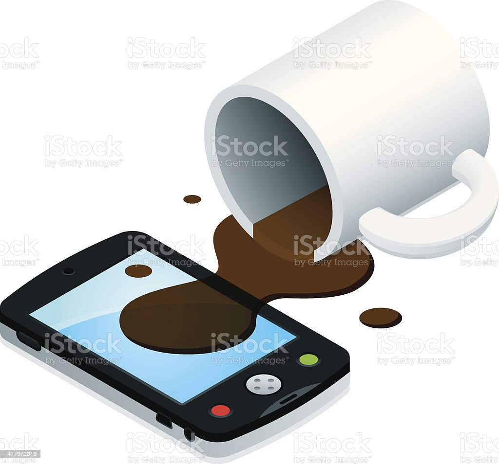 Coffee Spill on Smartphone vector art illustration