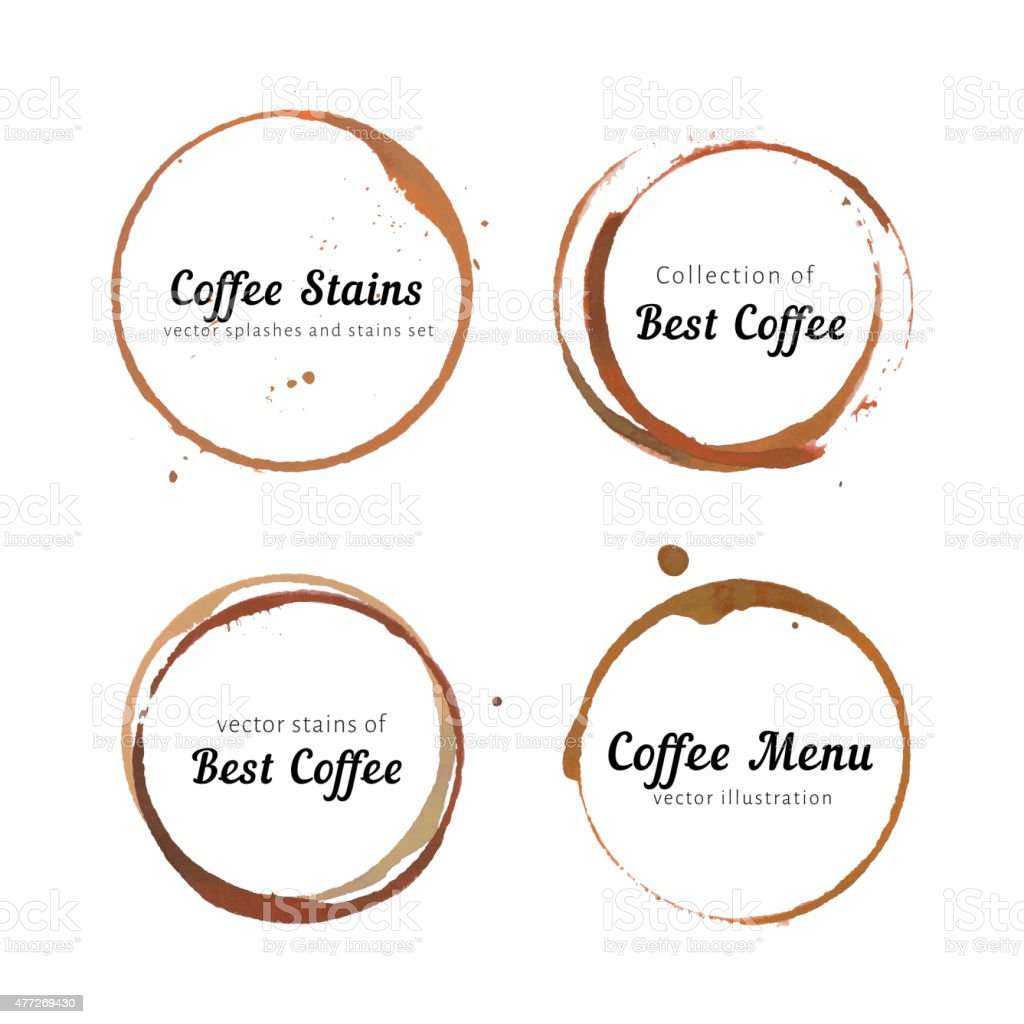 Coffee stain circles for logo vector art illustration