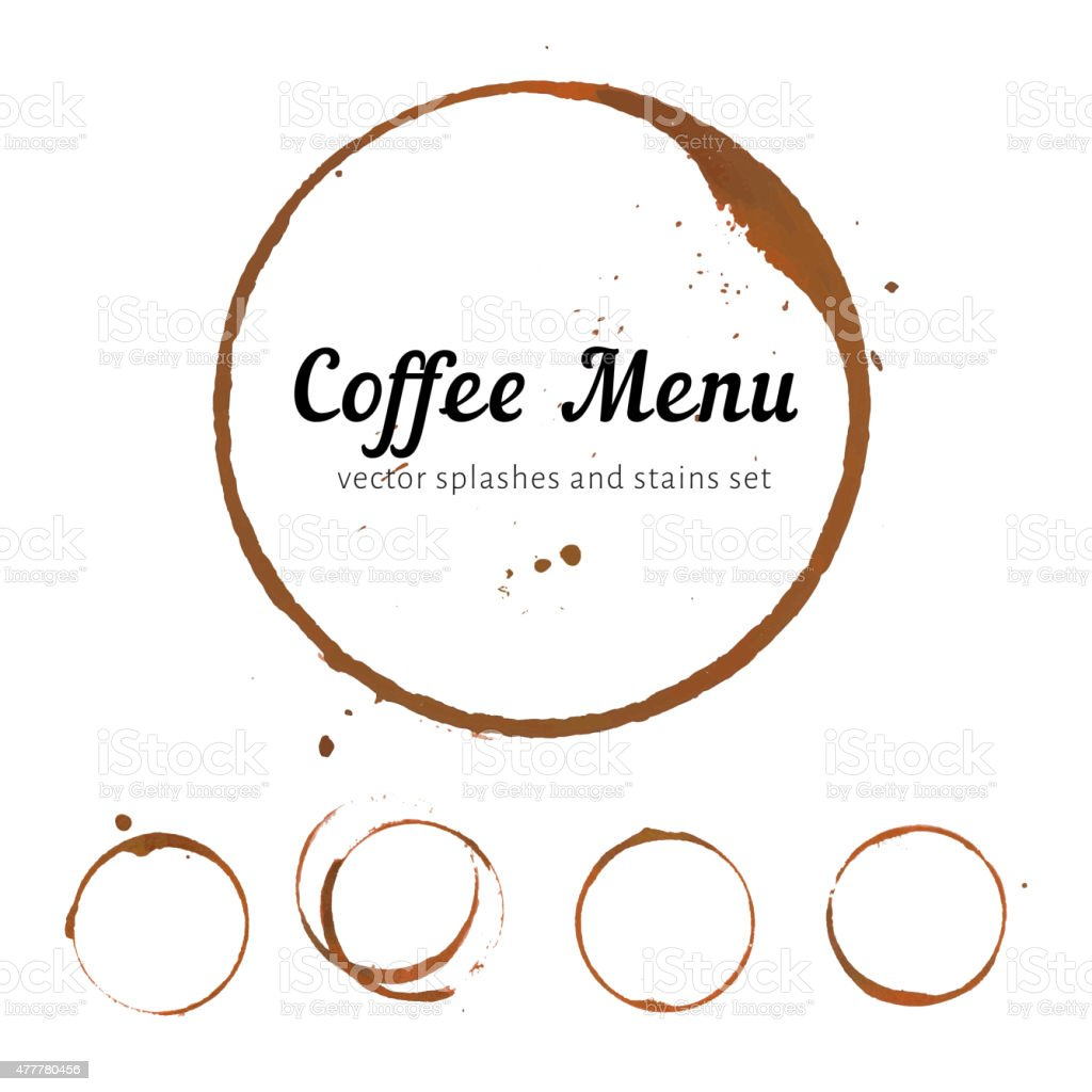 Coffee stain circles vector art illustration