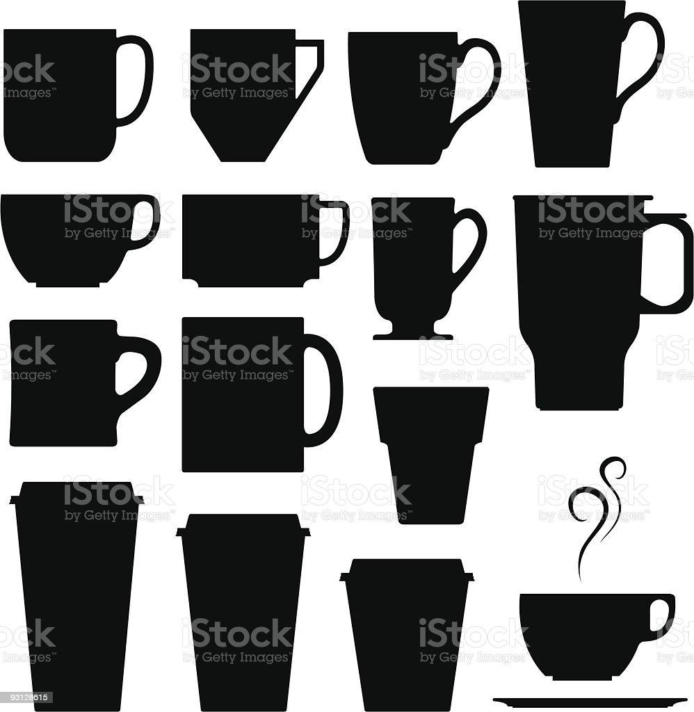 Coffee, tea, and espresso hot drink cups vector art illustration