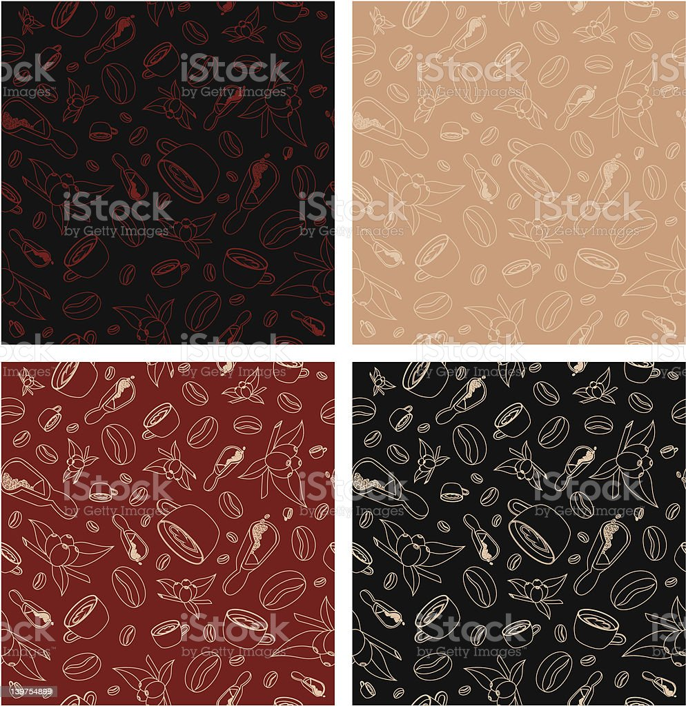 Coffee themed seamless background patterns royalty-free stock vector art