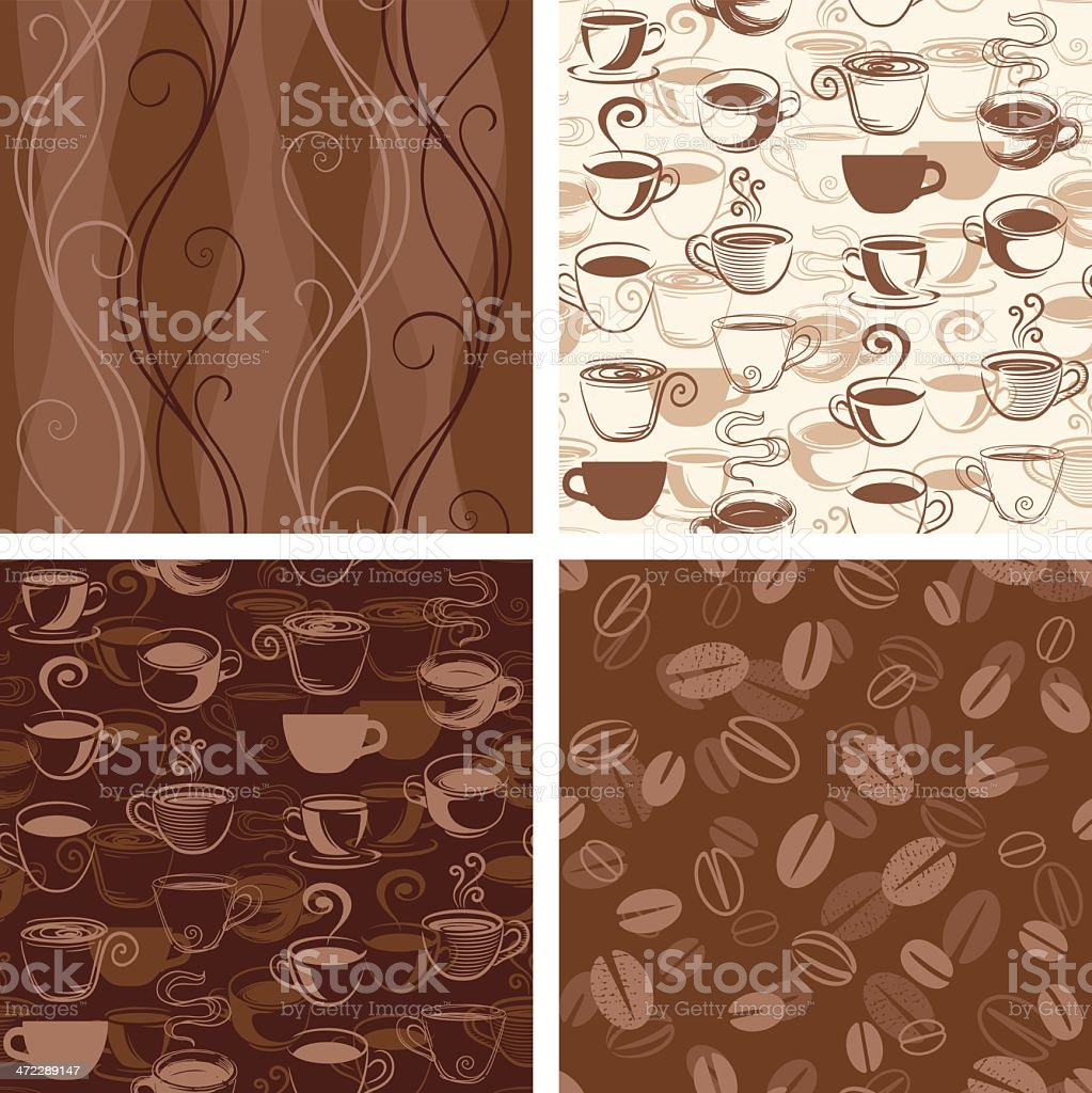 Coffee Themed Seamless Wallpaper Patterns vector art illustration