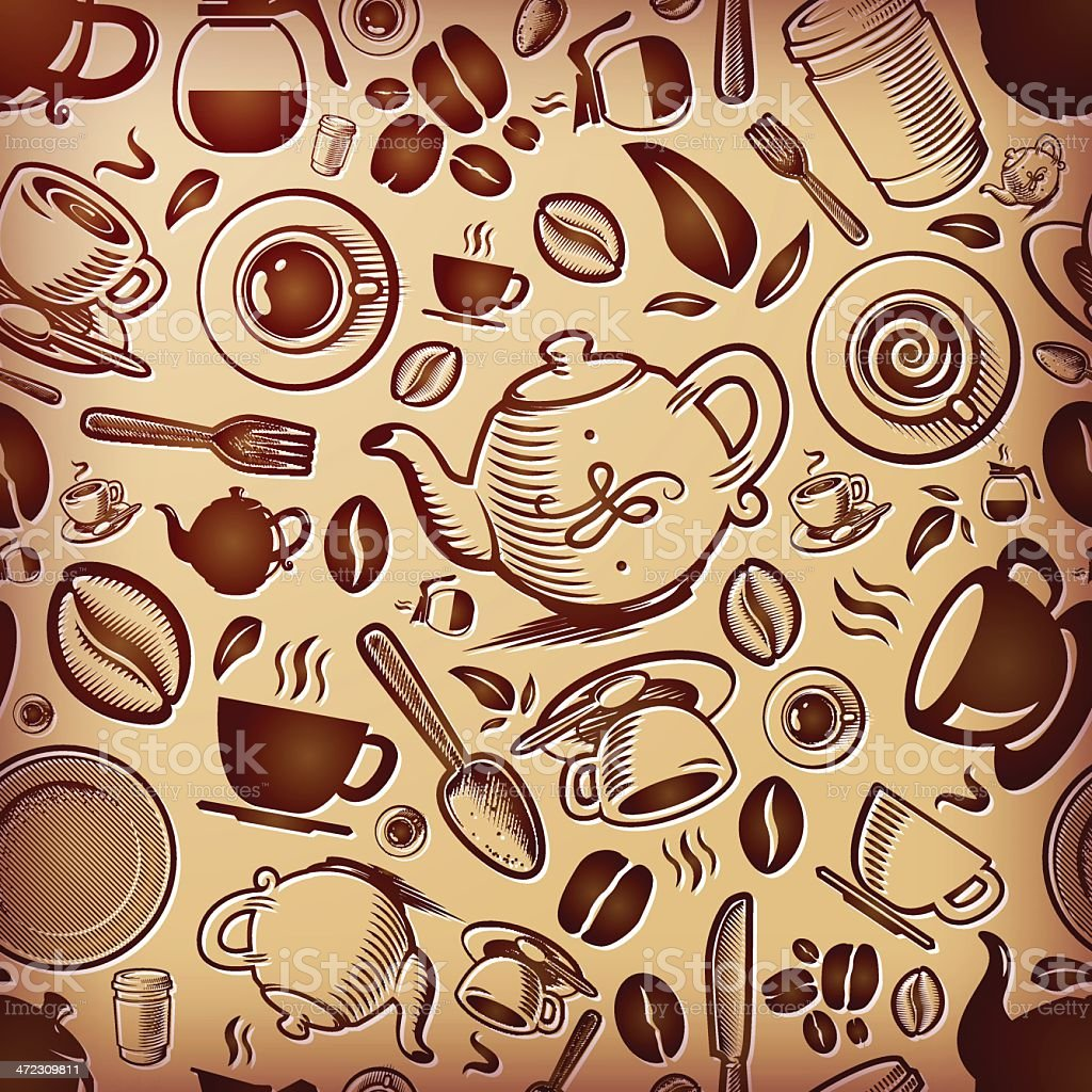 Coffee Themed Texture, Tilable royalty-free stock vector art