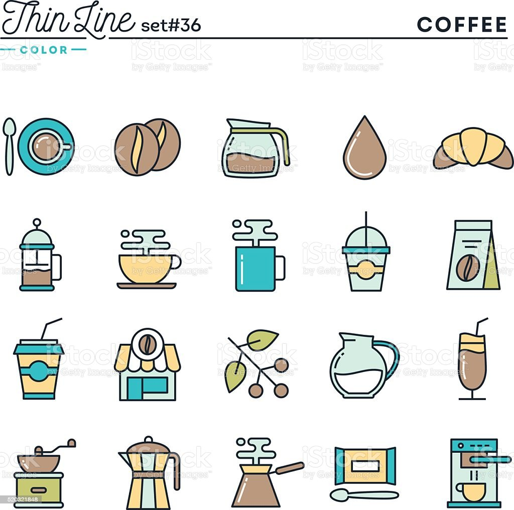 Coffee, thin line color icons set vector art illustration