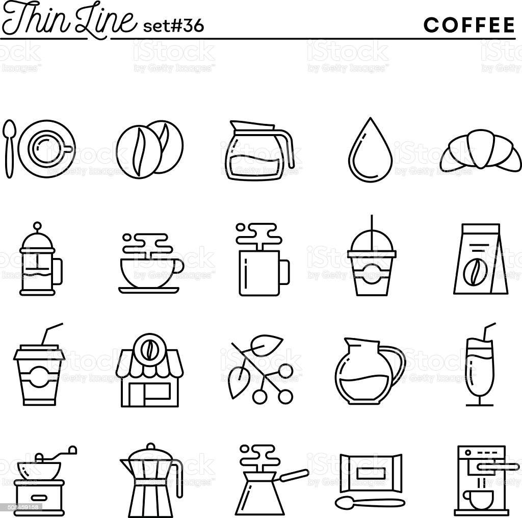 Coffee, thin line icons set vector art illustration