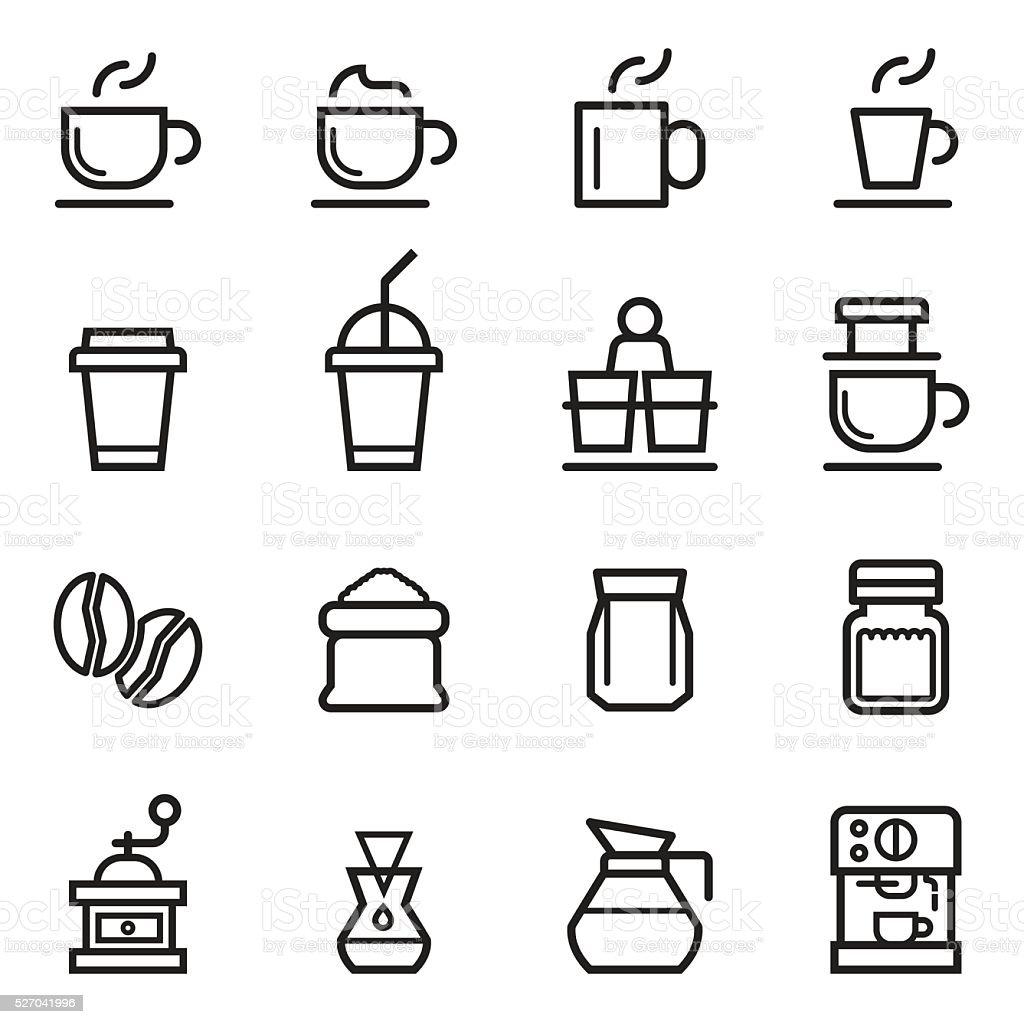 Coffee Thin Line Icons vector art illustration