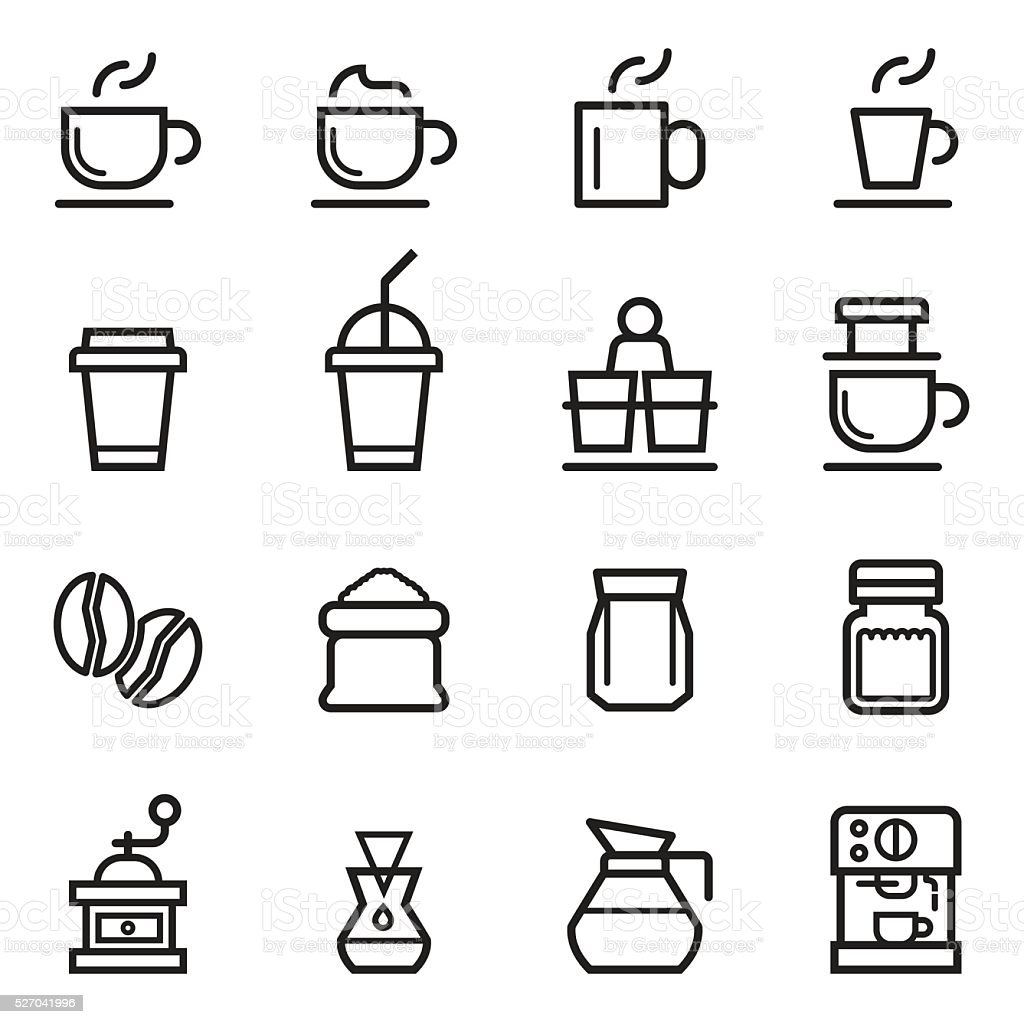 Coffee Thin Line Icons vector art illustration