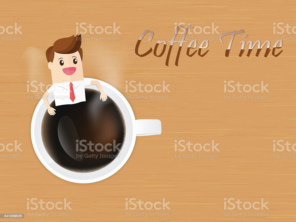 coffee time, businessman relaxing in coffee cup on wooden desk vector art illustration