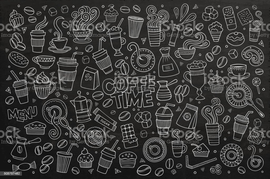 Coffee time doodles hand drawn vector symbols vector art illustration