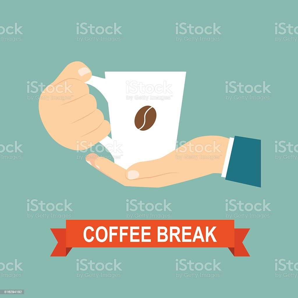 Coffee time. Hands holding coffee cup. Vector flat illustration vector art illustration