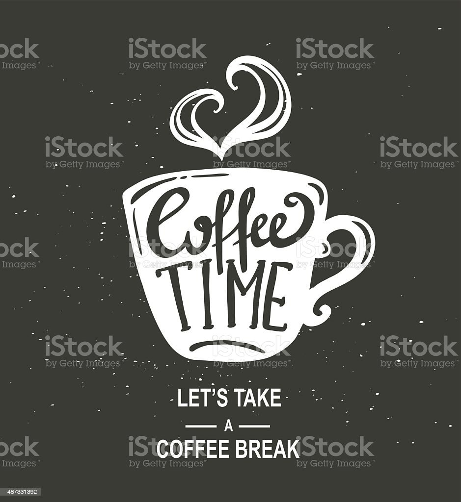 'Coffee Time' Hipster Vintage Stylized Coffee Paper vector art illustration