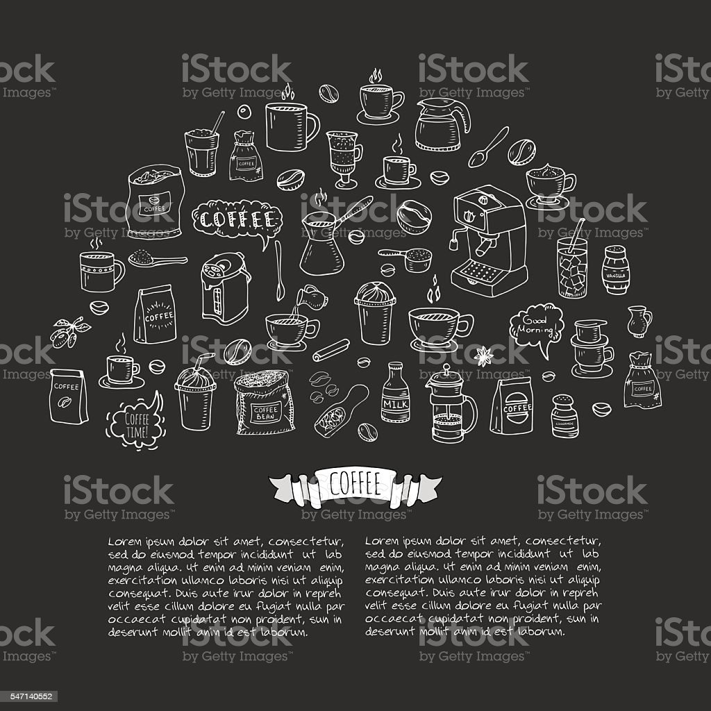 Coffee time icon set vector art illustration