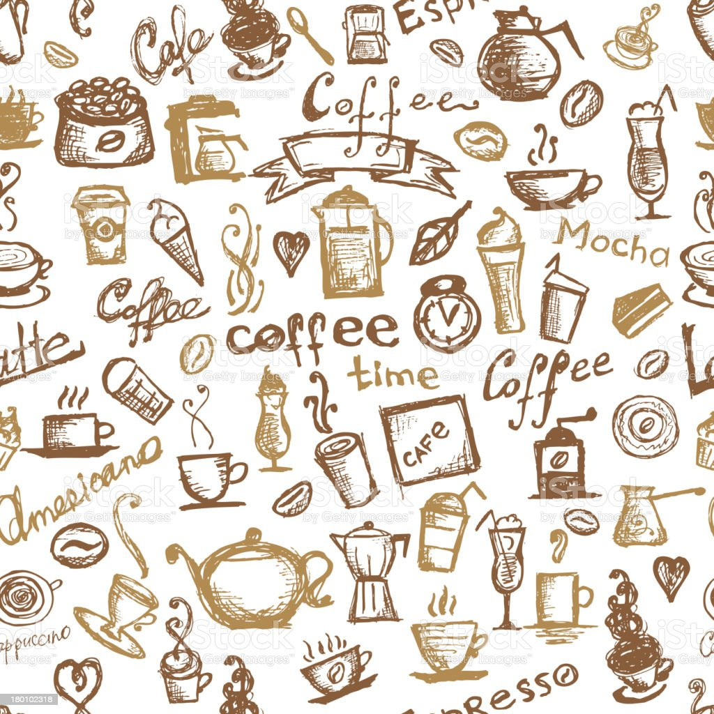 Coffee time, seamless background for your design royalty-free stock vector art
