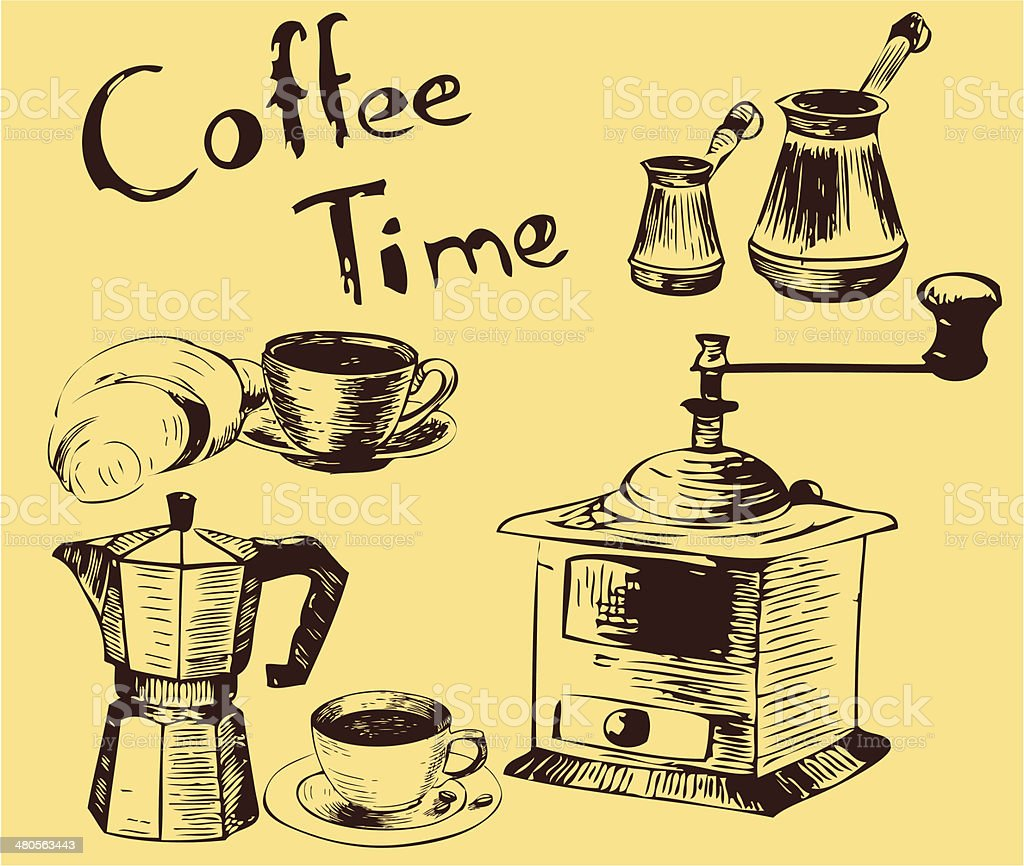 Coffee time, seamless background royalty-free stock vector art
