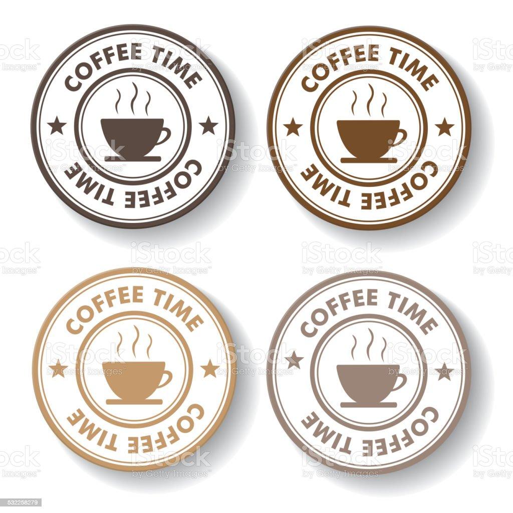 Coffee Time Stamp Labels vector art illustration