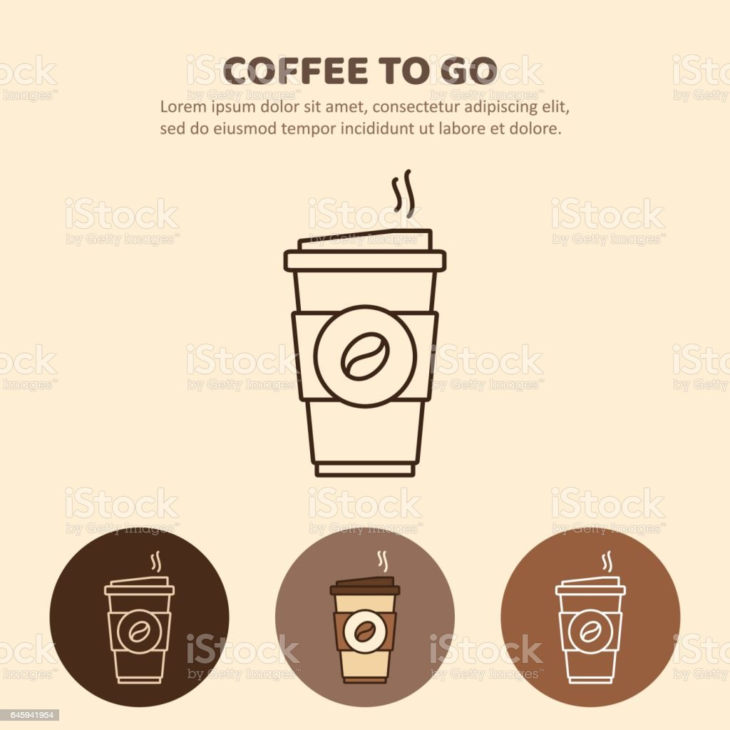 Coffee to go icon. Paper cup icon for web and graphic design vector art illustration