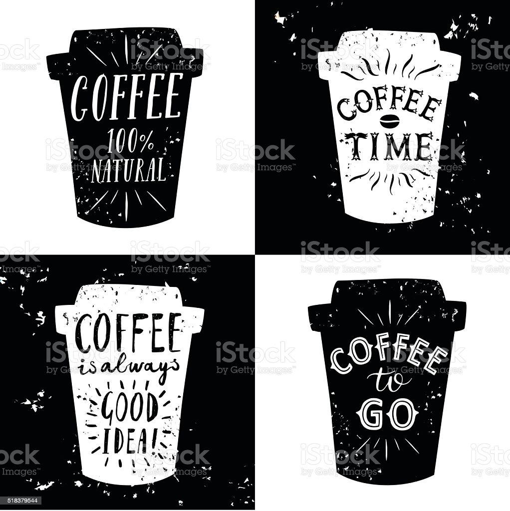Coffee to go illustrations set vector art illustration