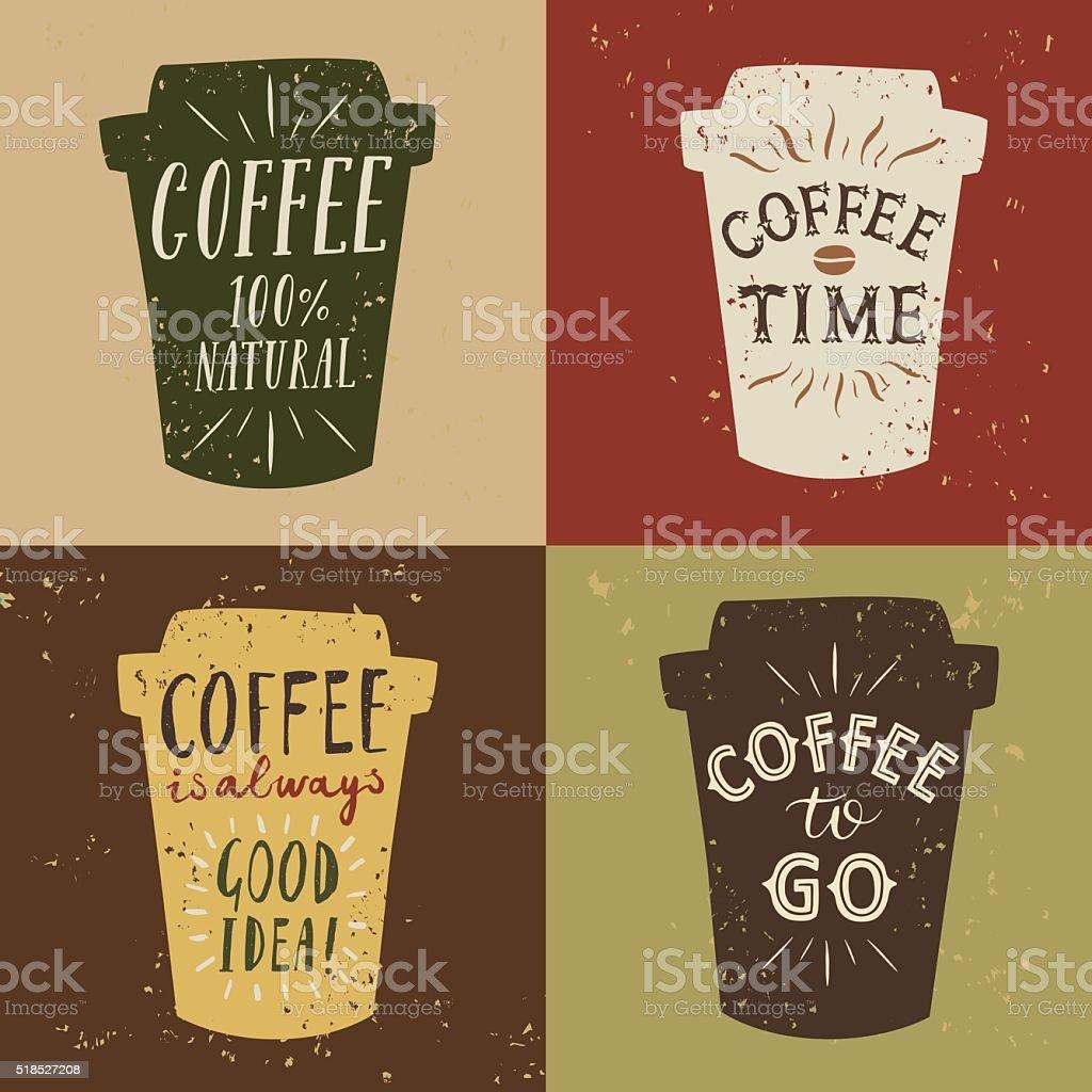 Coffee to go vintage illustrations set vector art illustration