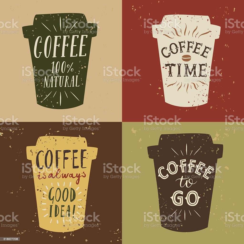 Coffee to go vintage illustrations set vector art illustration