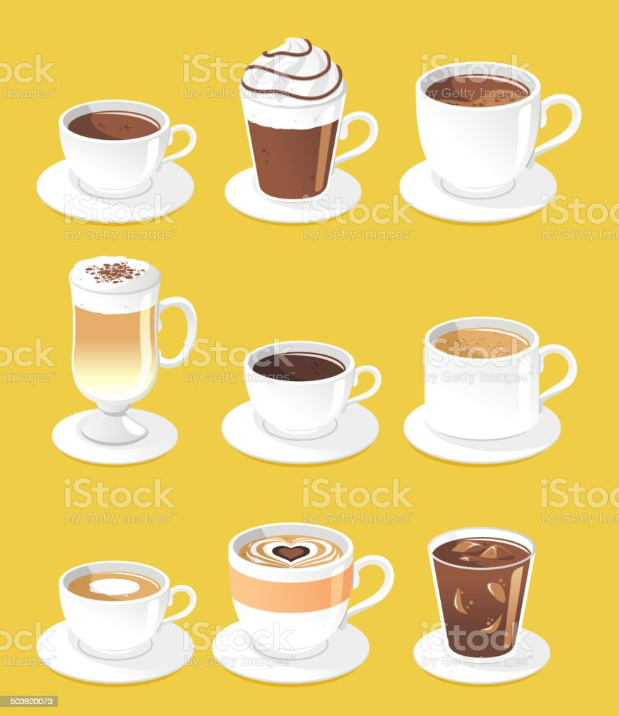 Coffee types set vector art illustration
