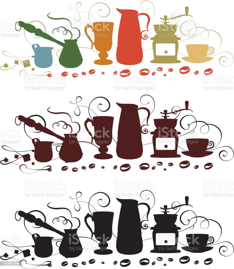 coffee utensil shapes royalty-free stock vector art