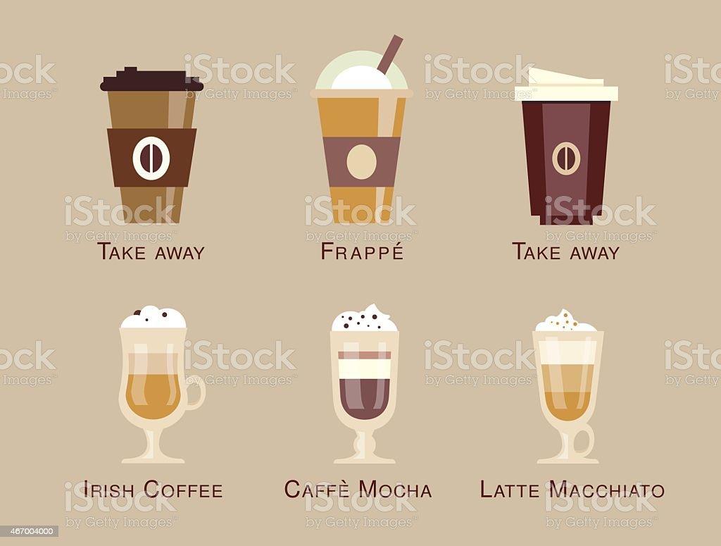 Coffee vector icon set menu beverages types and preparation espresso vector art illustration