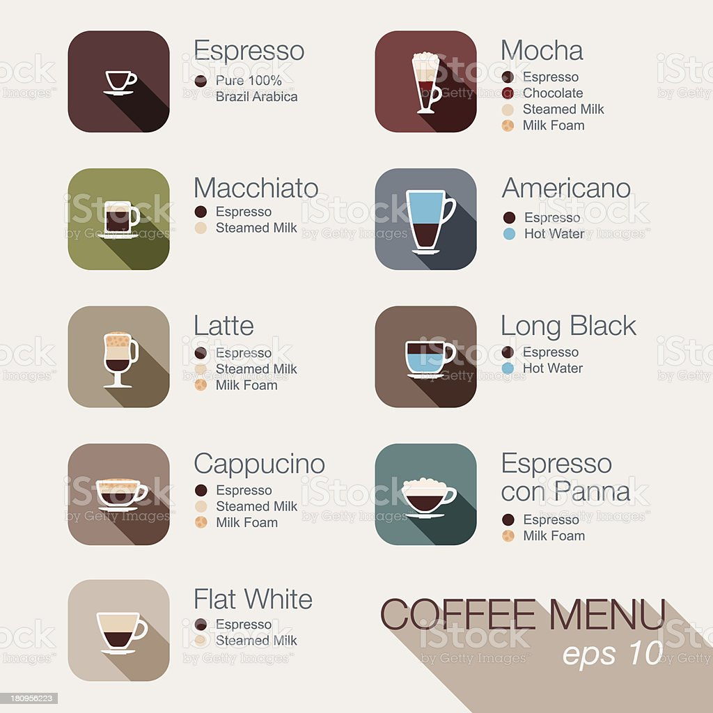 Coffee vector icon set menu. Buttons for web and apps. vector art illustration