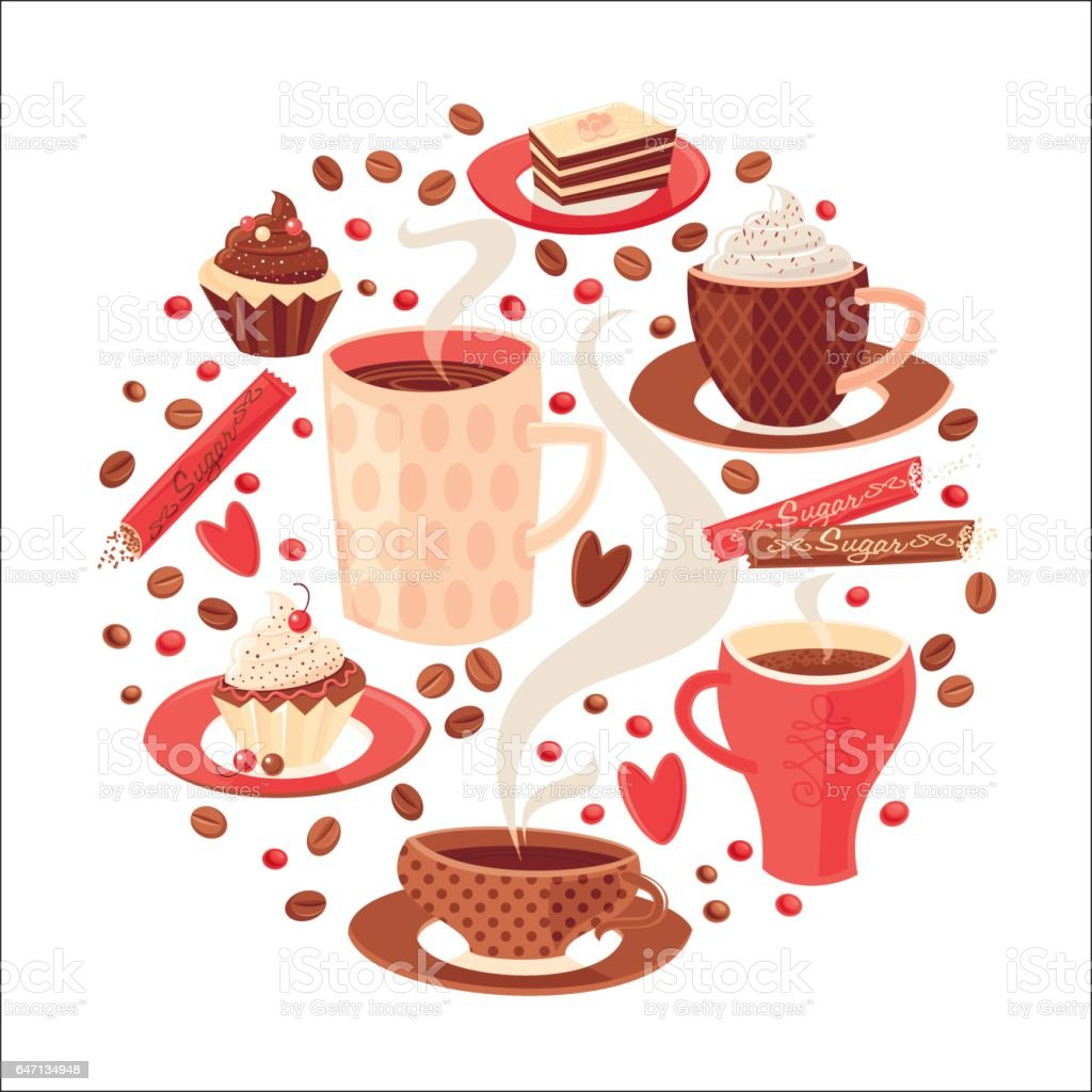 Coffee circle pattern. Vector illustration.
