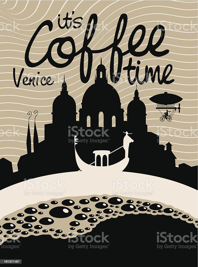 coffee venice vector art illustration
