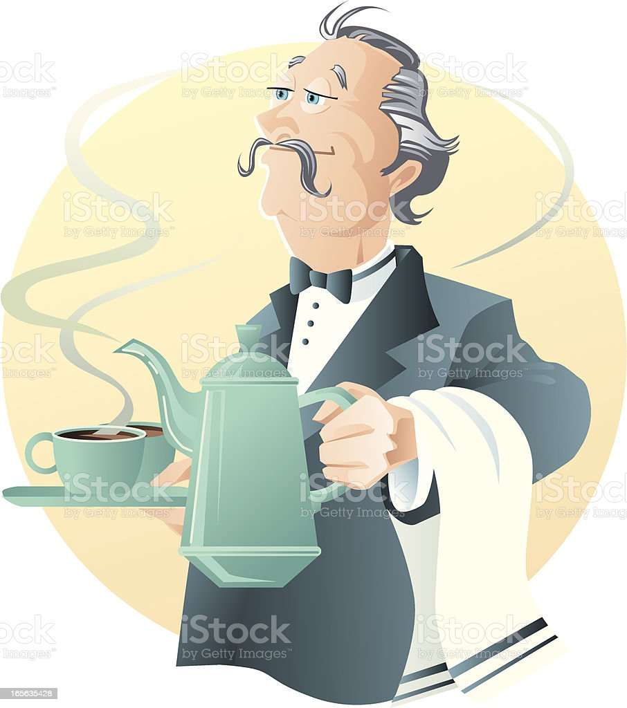 Coffee waiter vector art illustration