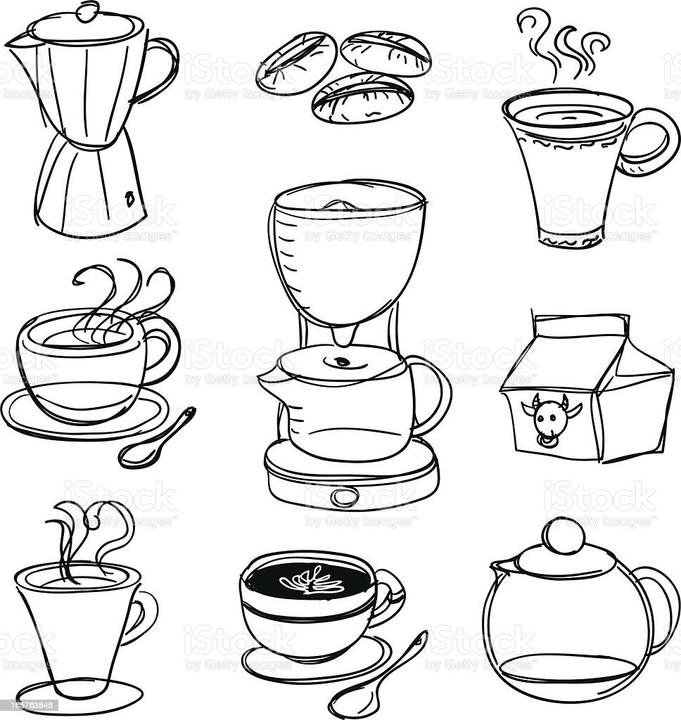 Coffee ware collection royalty-free stock vector art